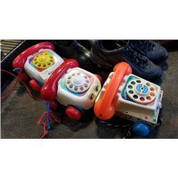 3 vintage fisher price toy phones