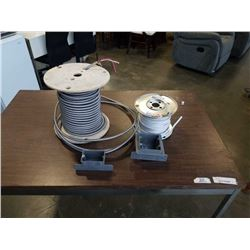 2 spools of electrical bx cable and 300v cable and 2 nutek device boxes