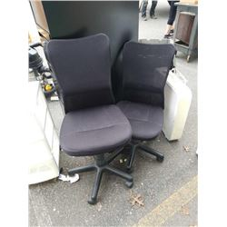2 black gas lift office chairs
