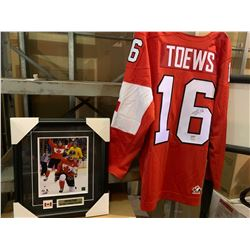 Johnathan Toews framed picture and signed jersey