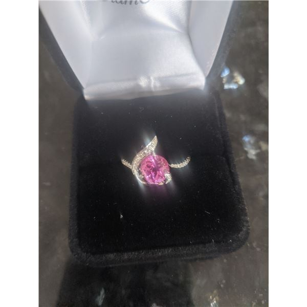 14K White Chatham Created Pink Sapphire Ring