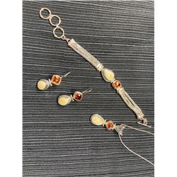 Sterling Silver Elk Ivory and Orange Quartz Bracelet, Pendant & Earrings
