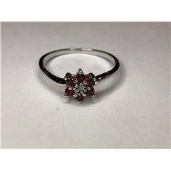 10K White Gold Garnet & Diamond Ring