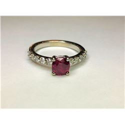 18K White Gold Synthetic Ruby & Diamond Ring