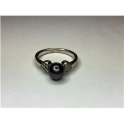 10K White Gold Black Pearl and Diamond Ring