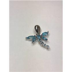 10K White Gold Blue Topaz Dragonfly Pendant