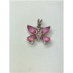 10K White Gold Pink Gemstone Pendant