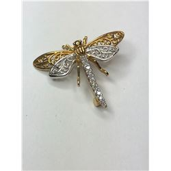 10K White and Yellow Gold Dragonfly Pendant