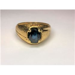 18K Yellow Gold Gold Blue Sapphire Ring