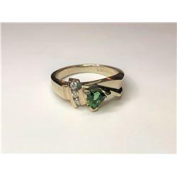 14K White Gold Triliant Tourmaline Ring