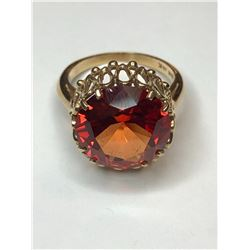 10K Yellow Gold Synthetic Flame Sapphire Ring
