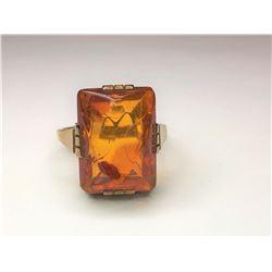 14K Yellow Gold Amber Ring