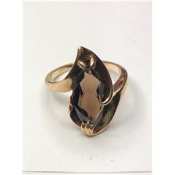 10K Yellow Gold Smoky Quartz Ring