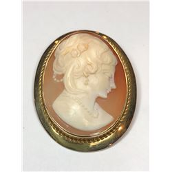 14K Vintage Yellow Gold Cameo Brooch