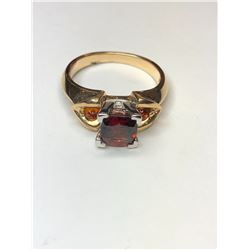 14K Yellow and White Gold Garnet Ring