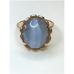 14K Yellow Gold Blue Lace Agate Ring