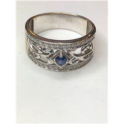14K White Gold Vintage Styled Sapphire and Diamond Ring