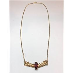 10K Yellow Gold Chain and Garnet Pendant