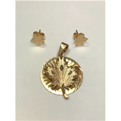10K Yellow Gold Maple Leaf Pendant and Earrings