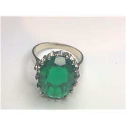 14K White Gold Synthetic Emerald Ring
