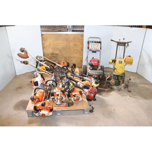 TILLER, PRESSURE WASHER, SAWS, GRASS TRIMMERS, GRASS BLOWER, Selling Offsite: Located in Birmingham,