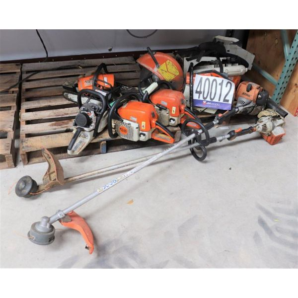 CHAIN SAWS, GRASS TRIMMERS, BACKPACK BLOWER, DEMOLTION SAW, Selling Offsite: Located in Alexander