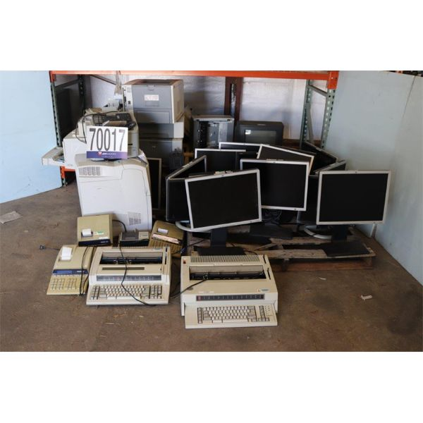 CALCULATORS, TELEVISION, FAX MACHINES, TYPEWRITERS, MONITORS, UPS, PRINTERS, Selling Offsite: Locate