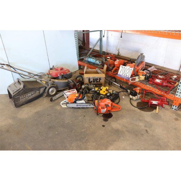 GENERATORS, LAWN MOWER, FUEL PUMP W/ METER, SANDER, SAWS, IMPACT WRENCHES, DRILLS, OIL PUMPS, GRASS