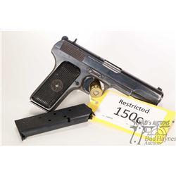 Restricted handgun Tokarev (Izhevsk) model TT33, 7.62mm Tokarev eight shots semi automatic, w/ bbl l