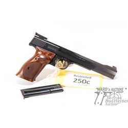 Restricted handgun S&W model 41, 22LR ten shot semi automatic, w/ bbl length 177mm [Blued finish. Fi