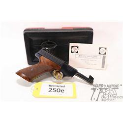 Restricted handgun Browning model Challenger, 22LR ten shot semi automatic, w/ bbl length 114mm [Blu
