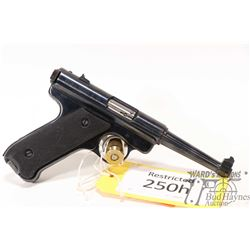 Restricted handgun Ruger model MK 2 Target, 22LR ten shot semi automatic, w/ bbl length 121mm [Blued