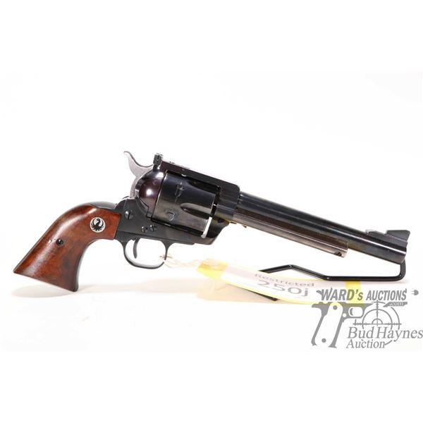 Restricted handgun Ruger model Blackhawk, .44 mag six shot single action revolver, w/ bbl length 165