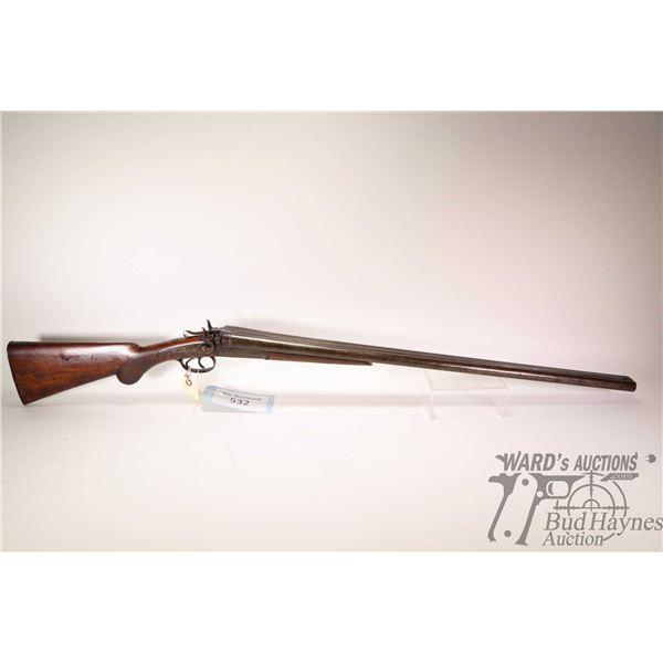 "Non-Restricted shotgun Walters & Sons model SXS, 12Ga 2 3/4"" two shot hinge break, w/ bbl length 30"""
