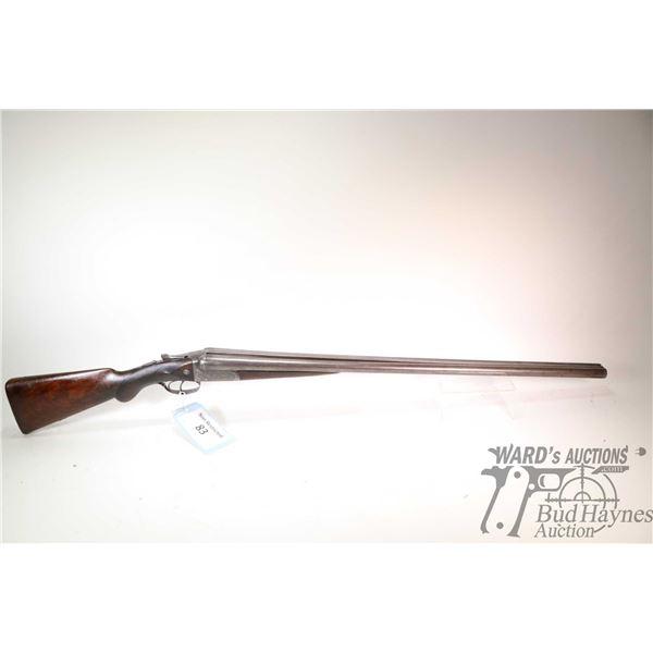 "Non-Restricted shotgun J.P Clabrough & Bros model SXS, .12 ga 2 1/2"" two shot hinge break, w/ bbl le"