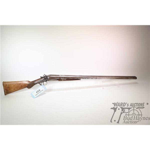 """Non-Restricted shotgun WM. Parkhurst model SXS, 12Ga two shot hinge break, w/ bbl length 30"""" [Blued"""