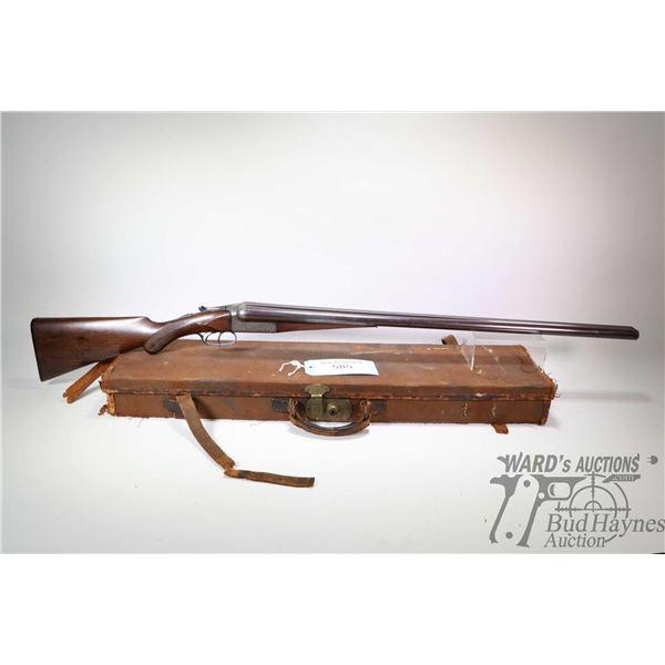 """Non-Restricted shotgun Charles Boswell model SXS, 12 Ga. 2 1/2"""" two shot hinge break, w/ bbl length"""