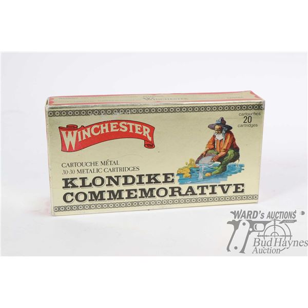 Full 20 count box of Winchester 30-30 Klondike Commemorative ammunition, head stamped .30-30 Win WW