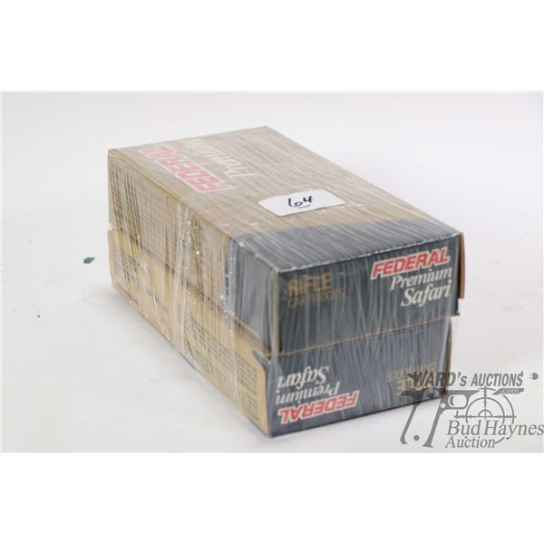 Two full 20 count boxes of Federal Premium Safari 375 H&H Magnum ammunition including one box 300 gr