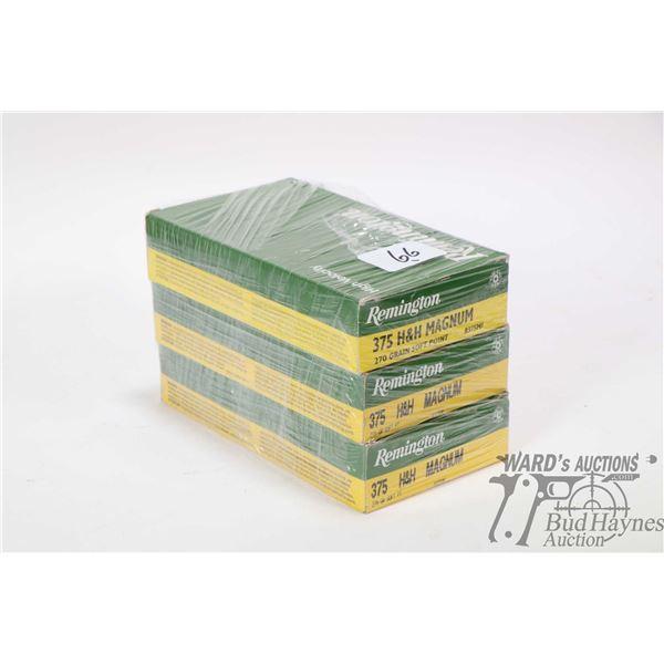 Three 20 count boxes of Remington .375 H&H Magnum 270 grain Soft Point