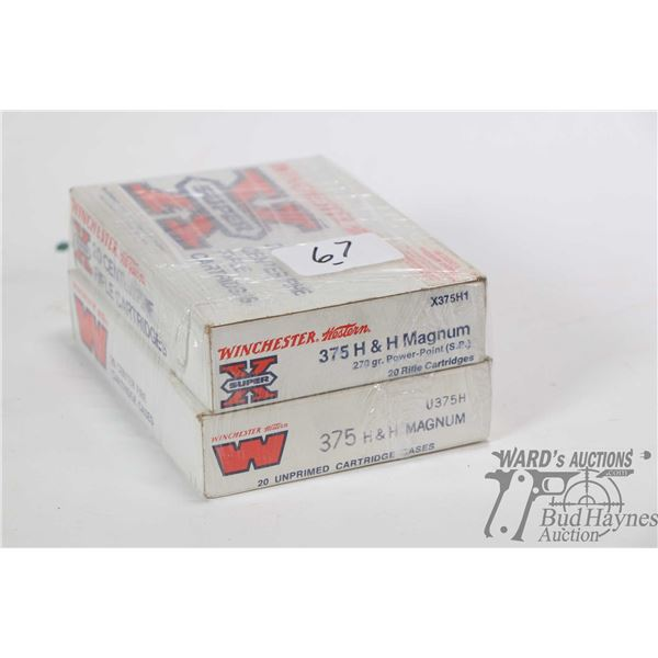 Two full 20 count boxes of .375 H&H Magnum reloads