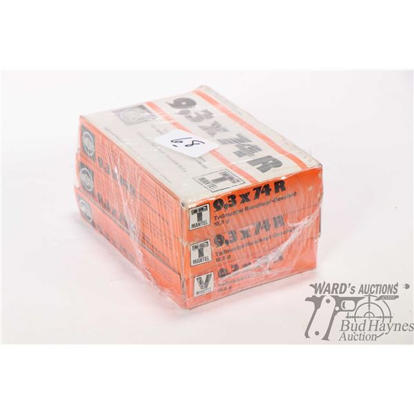 Three full 20 count boxes of Mantel 9.3X 54 R ammunition