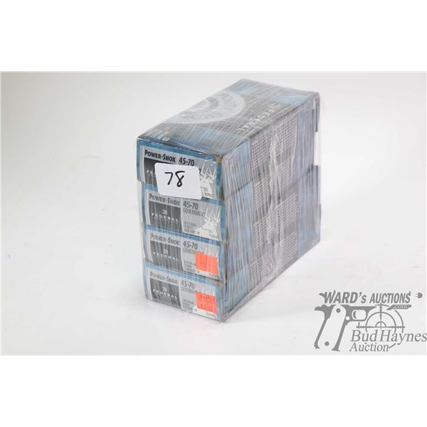 Four full 20 count boxes of Federal Power Shok 45-70 Government 300 grain Speer Hot-Cor SP ammunitio
