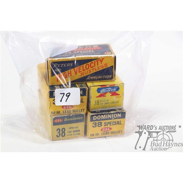 Five full 50 count boxes of .38 Special collector ammunition including three boxes of Dominion 158 g
