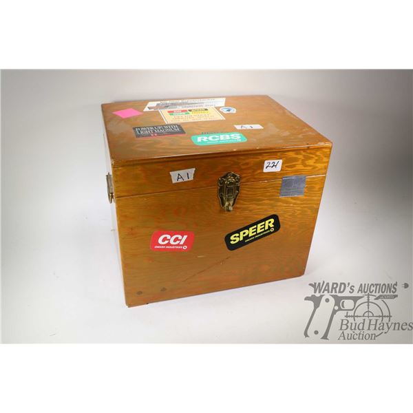 Shop made wooden storage box containing RCBS Single Place loading press and loading accessories incl