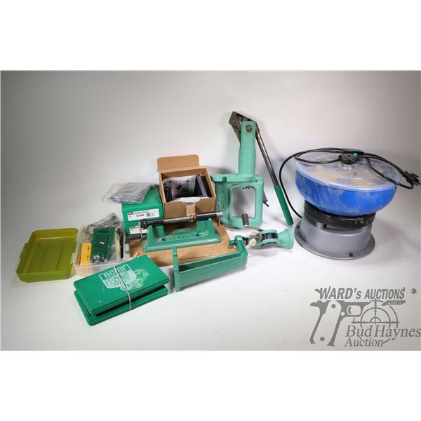 Selection of reloading equipment including a Barry's brass tumbler, a single position RCBS press, RC