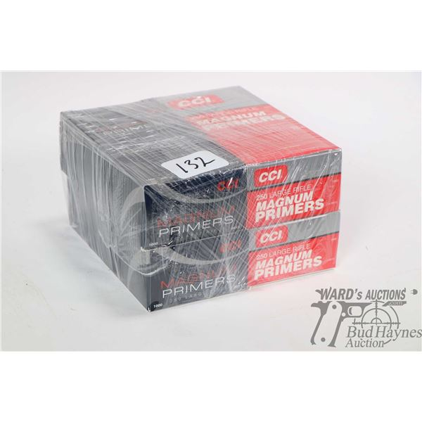 Four full 1000 count boxes of CCI primers no. 250 large rifle. Note: Not available for shipping. Loc
