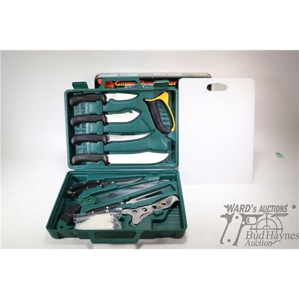 Outdoor Edge Game Processor boxed 12 pce. portable butchering knife set, appears new in box