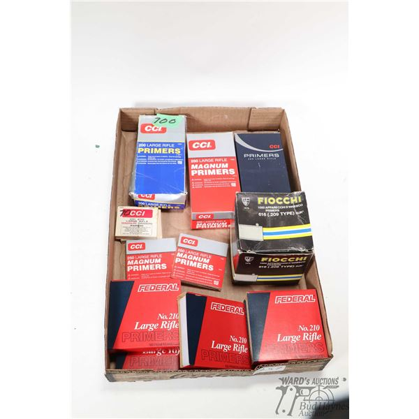 Selection of primers including a full 1000 count box of CCI no. 200 large rifle, full 1000 count CCI