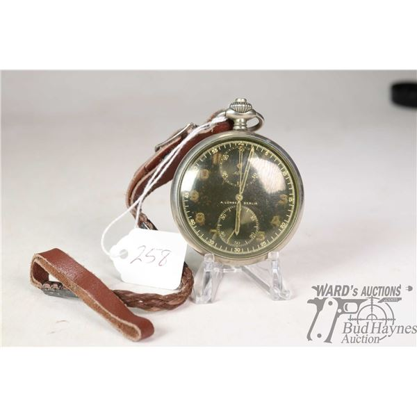 German WWII  Alpina A. Lunser Berlin military pocket watch with chronograph, Serial no. 404115